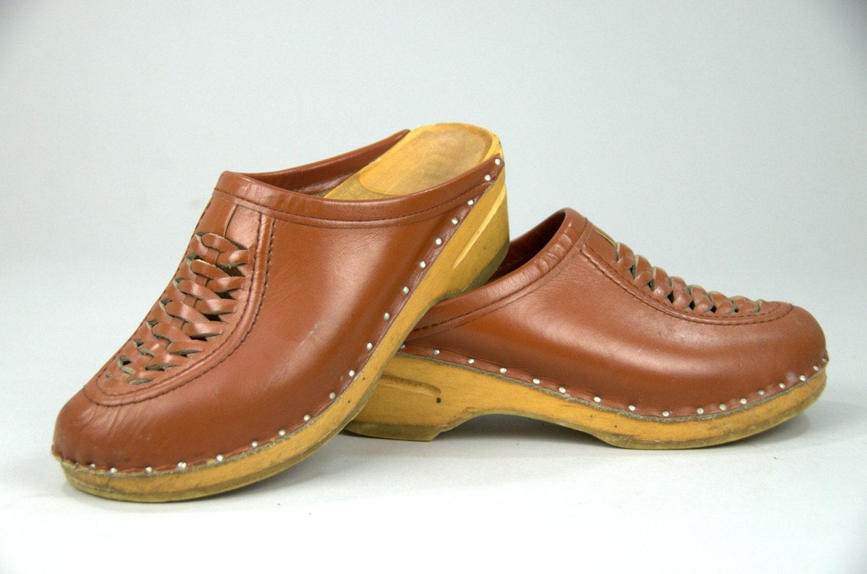 Vintage Bastad Original Swedish Clog Woven Brown Leather Wood