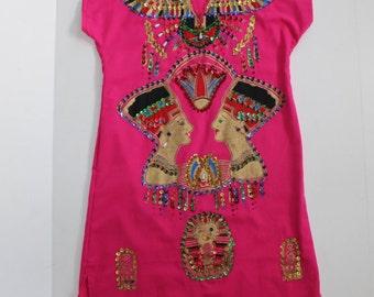 Vintage Sequin Dress -Bright Pink Cotton with Pharoh Egypt Egyptian Theme Embellished Mini Dress -Short -Souvenir - XXS Small Petite Boho