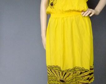 Vintage Bali dress set, 70s yellow cutwork lace dress, bird dress