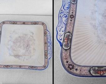 1920s SEBRING Platter Serving Dish Tray Fruit Basket Trim Ivory Porcelain
