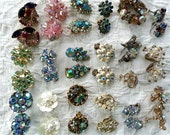 Vintage Lot Aurora Borealis Rhinestone & Crystal Earrings Clip-On Screw Back Some Signed