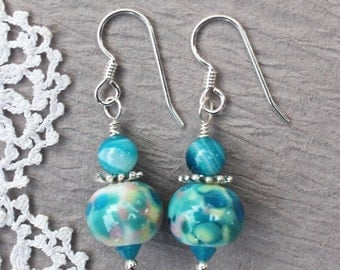 Lampwork Earrings, Lampwork Jewelry, Lampwork Bead Earrings, Turquoise and Pink Beads, Dangle Earrings, Sterling Silver
