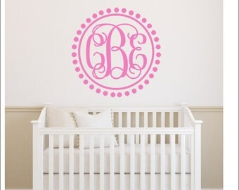 Nursery Monogram Etsy - Monogram wall decal for nursery