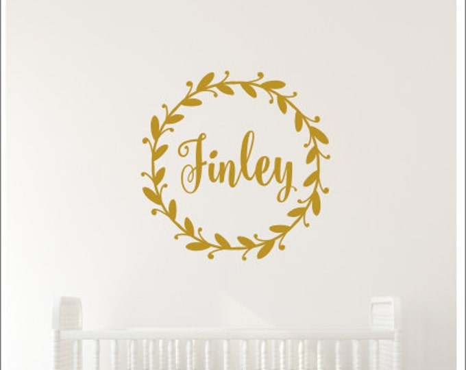 Personalized Wall Decal Name Decal Girls Nursery Decal Twig Grapevine Wreath Decal Rustic Nursery Decal Cottage Decal Gold Vinyl Decal
