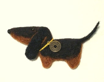 Needle Felted Dachshund - Dog - Puppy Brooch - Black and Tan Dog - Magnet - by Marina Lubomirsky