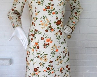 1960's Floral Peter Pan Collar Shift Dress - Retro - Size Large