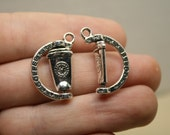 Spinning Coffee Charms, Bulk 15 Charms, Antique Silver Tone 25 x 15 mm - ts1111