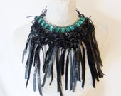 Black Leather & Green Swarovski Crystal Necklace