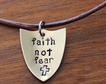 Faith Not Fear Christian Necklace, Adjustable Leather Cord Sliding Knot Necklace, Brass Shield, 2 Timothy 1:7, Handstamped Shield Necklace