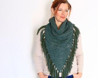 Boho scarf, triangle scarf, fringe scarf, boho chic winter fashion, Calypso Fringe, in sage green, ready to ship