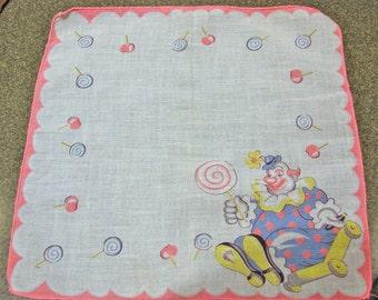 Child's Hankie with Clown and Lollipops Print Vintage Handkerchief