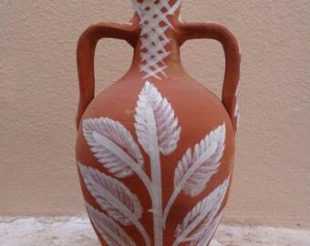 Greek Stamna, woodfired pottery, clay jug, folk art jug, rustic clay, traditional pottery, rustic decor, earthenware jug, Lesvos, Greece