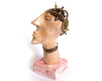 Steampunk sculpture, Stoneware sculpture, Robot Sculpture, Ceramic sculpture, Mechanical sculpture, Head statue , desk accessories