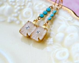Art Deco Earrings, Vintage Glass Earrings, Dainty Earrings, Vintage Style Jewelry, Gold Fill Earrings, Turquoise Rhinestone Drop Earrings