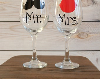 Mr. & Mrs. Mustache and Lips Wine Glasses - Set of 2