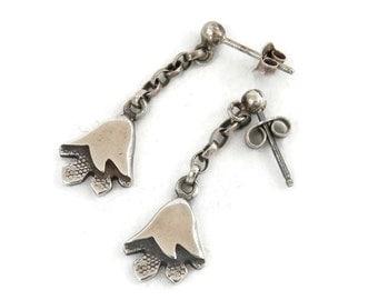 Scottish Sterling Earrings Bell Flowers Hallmark EJ.C from Glasgow Antique Estate Jewelry