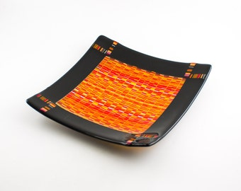 Fused Glass Plate, Glass Serving Platter, Decorative Dish, Unique Home Decor, Serve-ware, Kitchen Accessories, One of a Kind Gifts