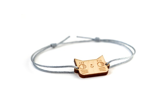 Cat bracelet - 25 colors - cute kitten bangle - adjustable bracelet - lasercut wood - graphic jewelry - unisex - customizable - lasercutting