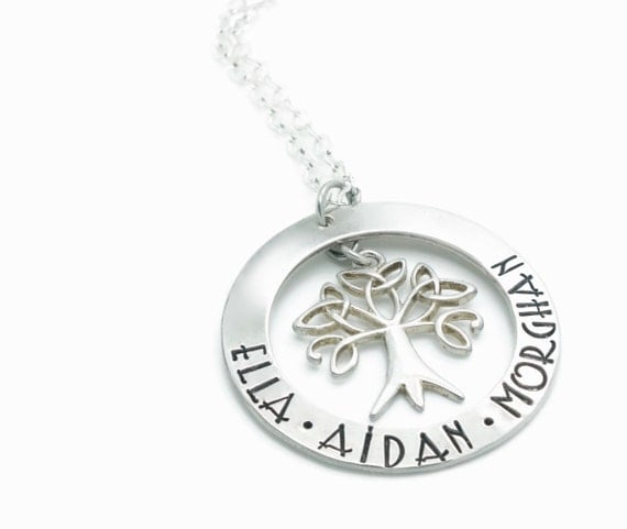 Sterling Silver Family Tree Necklace / Celtic Tree of Life Necklace / Mothers Necklace / Celtic Knot Necklace