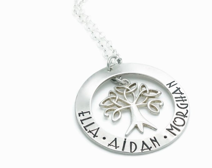 Sterling Silver Family Tree Necklace | Celtic Tree of Life Necklace | Mothers Necklace | Celtic Knot Necklace