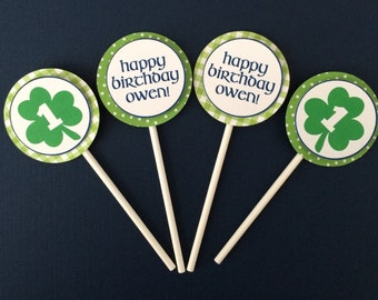 St. Patricks Day Cupcake Toppers, St. Patrick's Day Birthday, Green Cupcake Sticks