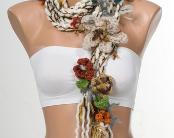 CREAM and colorful Valentine Scarf wrap. NEW Bohemian crochet Lariat scarf. Extra long hippie scarf.