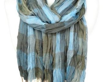 Plaid Cotton Unisex Scarf. Blue Scarf. Crinkle Fringed Scarf. Gift for Him. Soft Scarf. Birthday Gift for her. 25x74in (65x190cm) Ready2Ship