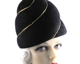 Womens Hat Black Fur Felt Turban Gold Handmade Hat Church Mother of the Bride Cloche Derby Ascot Races Art Deco Custom Made for Each Client