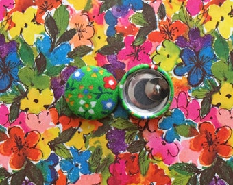 Button Earrings / Fabric Covered / Green / Wholesale Jewelry / Gifts for Her / Stud Earrings / Birthday Present / Bulk Earrings / Posts