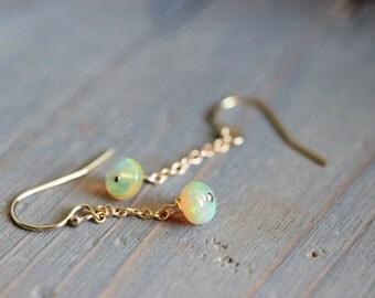 Ethiopian Opal Dangle Earrings. Gold Fill Chain Dangles. October Birthstone. Natural Fiery Opal Earrings. October Earrings. Bridal Earrings
