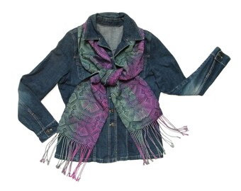 Hand Painted Silk Scarf, Magenta Navy Blue and Green Scarf Handwoven, Hand Woven Scarf, Iridescent Scarf, Navy Blue Green and Magenta Scarf