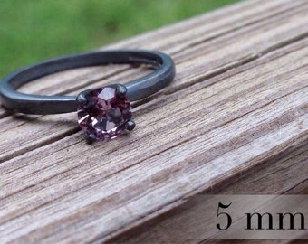 Alexandrite Color-Change Ring, Oxidized Silver Ring, 5mm Wedding Ring, Engagment Ring, Promise Ring