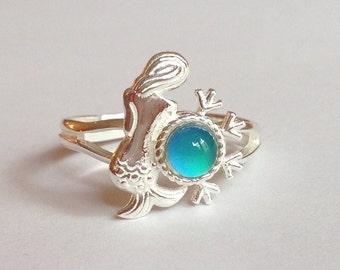 Sterling Silver 925 Mermaid Nymph Ocean Arielle Mood Ring Adjustable Color Changing Liquid Crystal