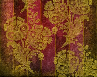 Digital Scrapbook Paper, Red and Gold Victorian Floral