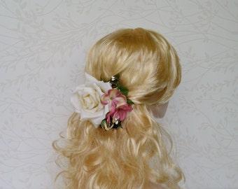 Bridal headpiece, Ivory flower headpiece, wedding hair flower, Rustic wedding hair accessories, Spring bridal hair clip, Floral hairpiece