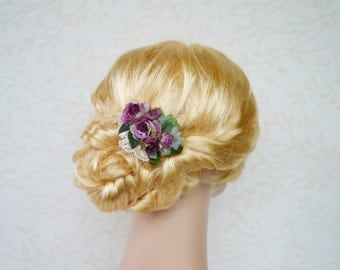 Bridal flower hair clip, Bridal hairpiece, Purple hair accessories, Purple rose headpiece, Wedding headpiece, Plum flower, Lace hairpiece