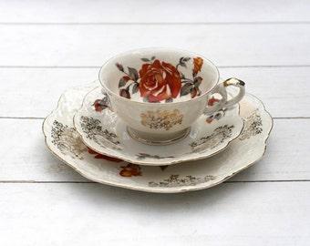 SALE Vintage German Teacup and Saucer Trio Set - Traditional Orange Rose Cream and Gold