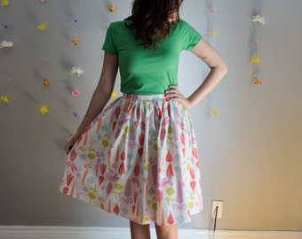 Root Vegetable Print Skirt in White, Pink, Orange, Blue & Green / Vegetarian Skirt
