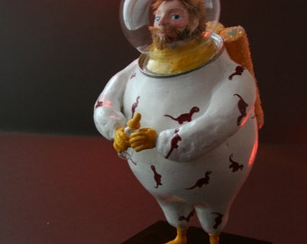 OOAK sculpture of Space Daddy expecting and ready for his baby