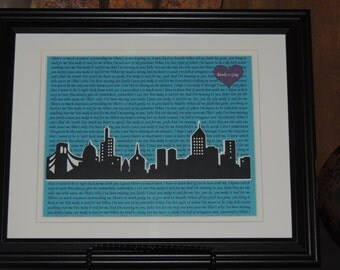 The Perfect Wedding Gift - Personalized Anniversary Gift - First Dance Song Lyric Art with 3D Skyline - Customized - 10x13 Framed