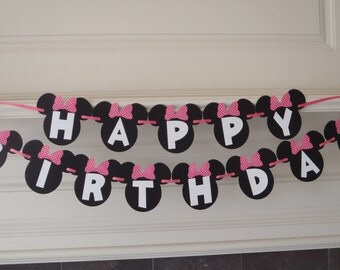 Minnie Mouse Banner with Red or Pink Bow and Custom Name Option by FeistyFarmersWife