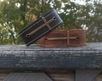 Mens Leather Cross Bracelet - Boyfriend Gift - Unique Leather Jewelry - Custom Bracelet - Leather Bracelet