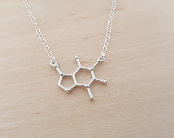 Caffeine Necklace - Molecule Necklace - Science Necklace - Geek Necklace - Sterling Silver Necklace - Simple Jewelry / Gift for Her