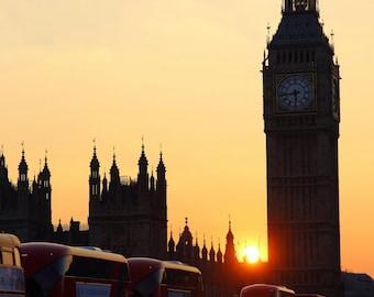 Big Ben, Westminster Bridge, London Taxi, London Bus, Sunset, London, England, UK, Fine Art, Photograph, Photography, Alison Zak-Collins