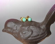 amazonite gold stud earrings  ///  tiny 4mm smooth green amazonite set in 14k gold-filled bezels /// simple everyday gemstone studs