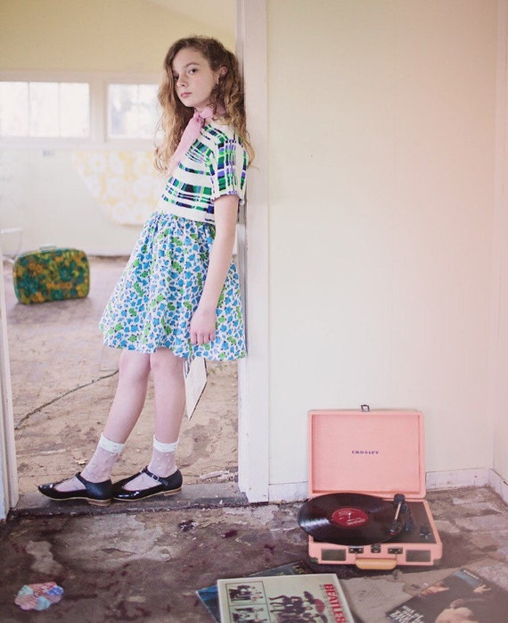 Girls Retro Floral Skirt/Vintage Skirt/50's Style/Full Skirt