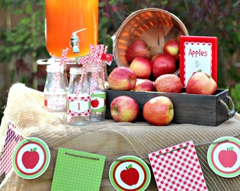 Apple//Gingham//Polka Dot//Burlap// Printable Pennant BANNER and Circle Banner by Marbella Printables