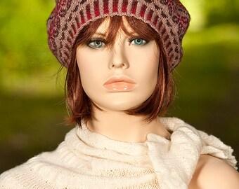 Hand knitted  fair isle beret, fair isle tam, jacquard beret, beige, rust colors, for women, for girls, woolen beret, multicolor knit beret.
