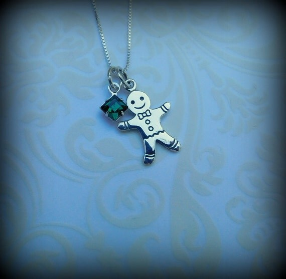 Sterling silver gingerbread man necklace, winter jewelry, holiday jewelry birthstone necklace