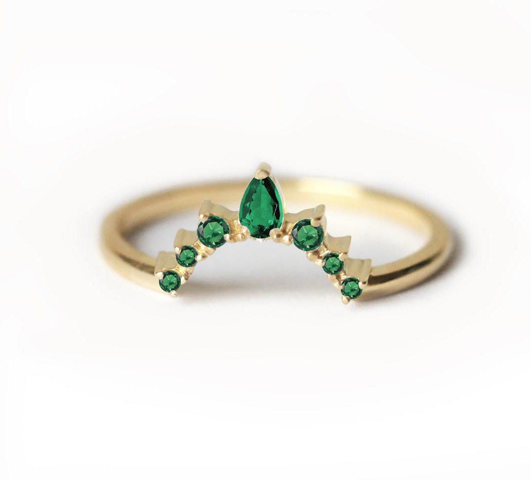 Emerald Wedding Ring Emerald Wedding Band Curved Wedding